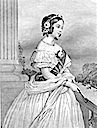 Victoria in evening dress on balcony black and white print from 1881