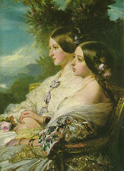 1852 The Cousins: Victoria, Queen of Great Britain and Ireland and Victoire, Duchesse de Nemours by Franz Xaver Winterhalter (Royal Collection)