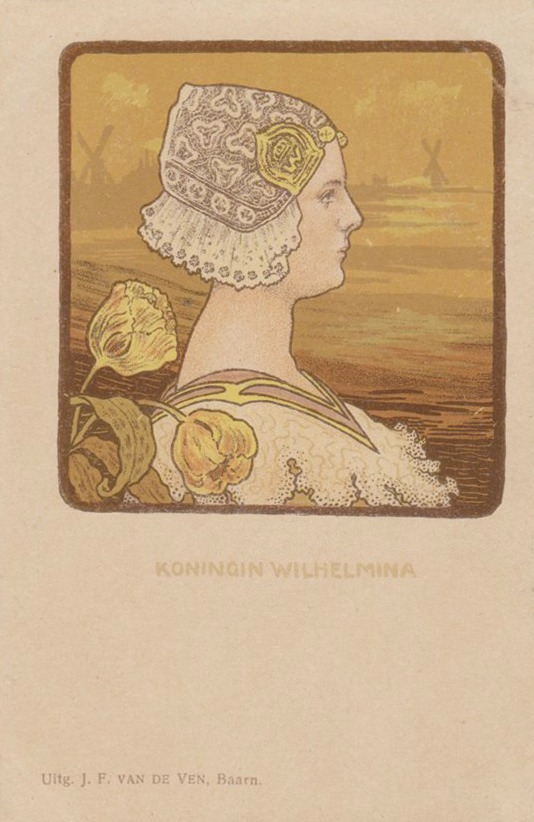 Wilhelmina wearing Dutch headdress post card EB