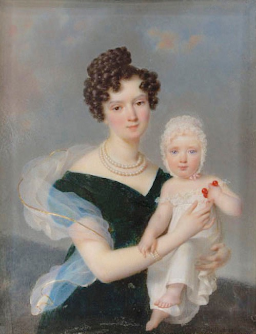1830 Zofia Branicka and daughter Maria by Frédéric Millet (Muzeum Narodowe w Warszawie - Warsawa, Poland) From ipsb.nina.gov.pl:a:foto:zofia-z-branickich-arturowa-potocka-z-corka-frederica-milleta despot fixed left side lower edge