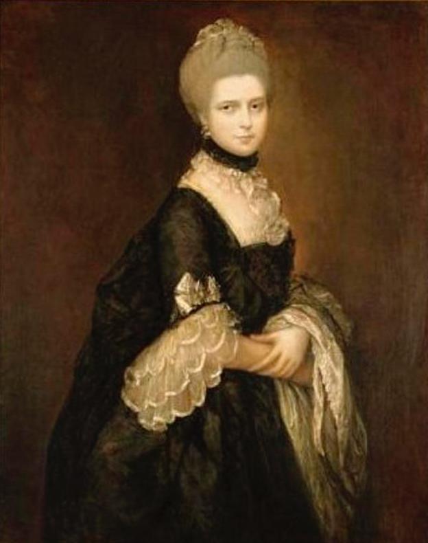 Californie.  1763 Maria Walpole, comtesse de Waldegrave, plus tard duchesse de Gloucester dans une robe de deuil noire par Thomas Gainsborough (Dunedin Public Art Gallery - Dunedin, Otego Region, Nouvelle-Zélande)